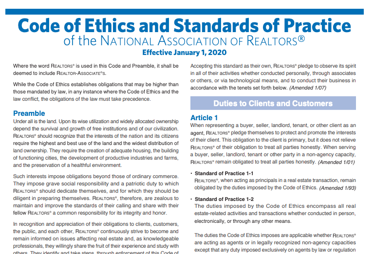 Realtor Code of Ethics 2019